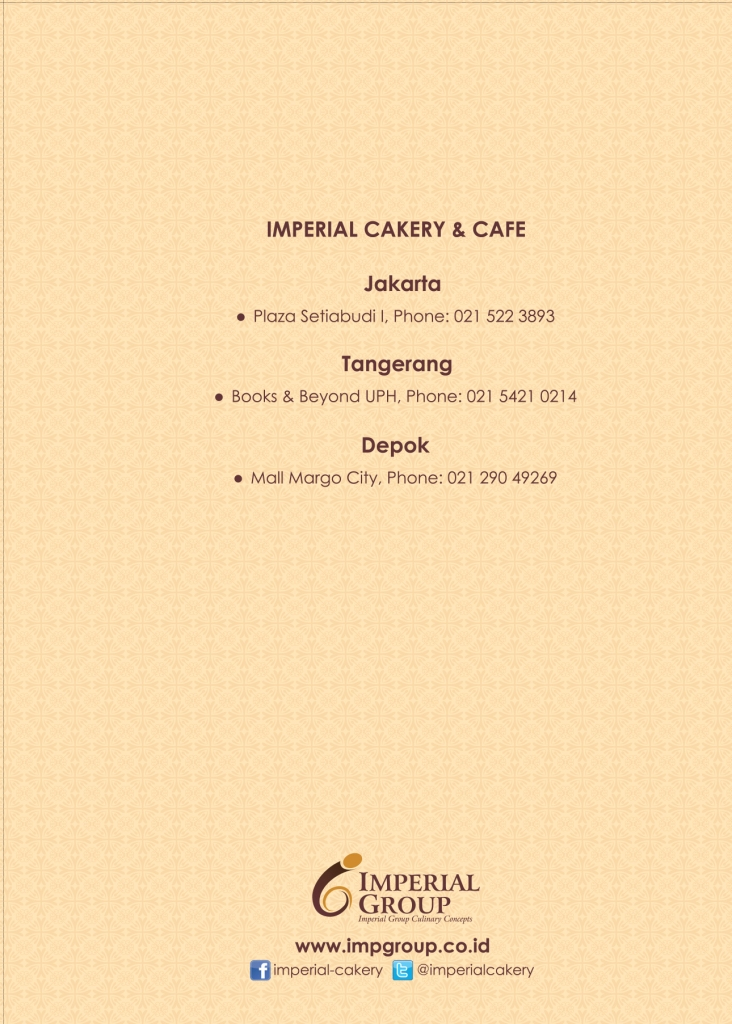 Imperial Cakery Menu - Page 20